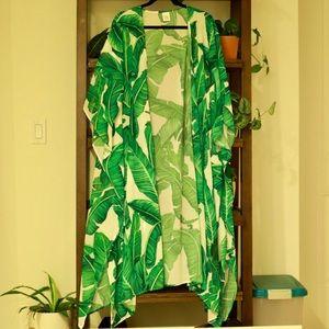 Maxi banana leaf print kimono